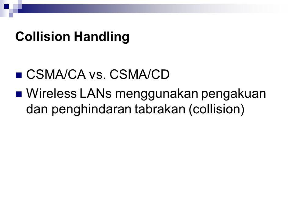 Collision Handling CSMA/CA vs. CSMA/CD Wireless LANs menggunakan pengakuan dan penghindaran tabrakan (collision)