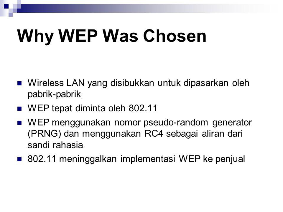 Why WEP Was Chosen Wireless LAN yang disibukkan untuk dipasarkan oleh pabrik-pabrik WEP tepat diminta oleh 802.11 WEP menggunakan nomor pseudo-random