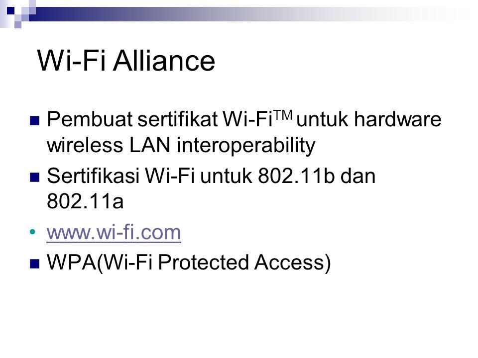 Wi-Fi Alliance Pembuat sertifikat Wi-Fi TM untuk hardware wireless LAN interoperability Sertifikasi Wi-Fi untuk 802.11b dan 802.11a www.wi-fi.com WPA(