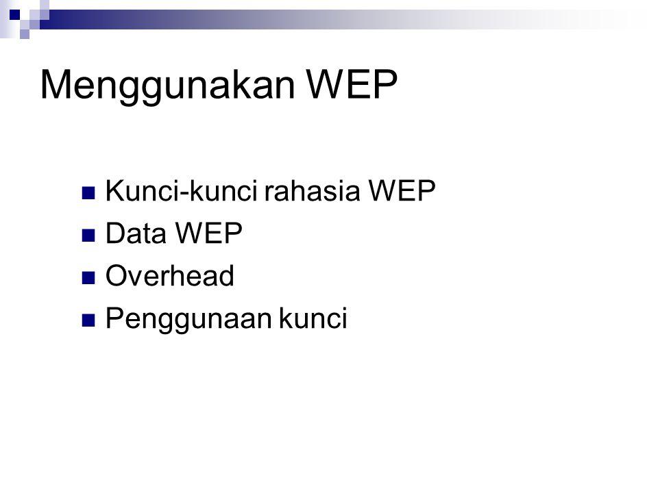 Menggunakan WEP Kunci-kunci rahasia WEP Data WEP Overhead Penggunaan kunci
