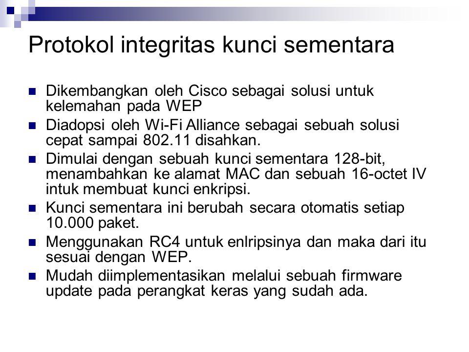 Protokol integritas kunci sementara Dikembangkan oleh Cisco sebagai solusi untuk kelemahan pada WEP Diadopsi oleh Wi-Fi Alliance sebagai sebuah solusi