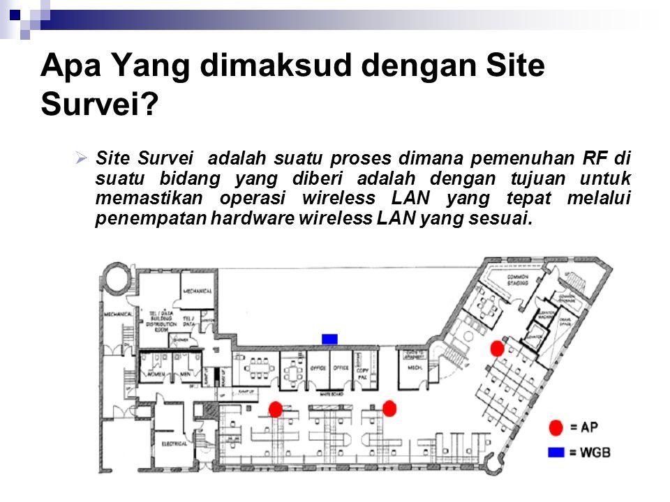 Apa Yang dimaksud dengan Site Survei?  Site Survei adalah suatu proses dimana pemenuhan RF di suatu bidang yang diberi adalah dengan tujuan untuk mem