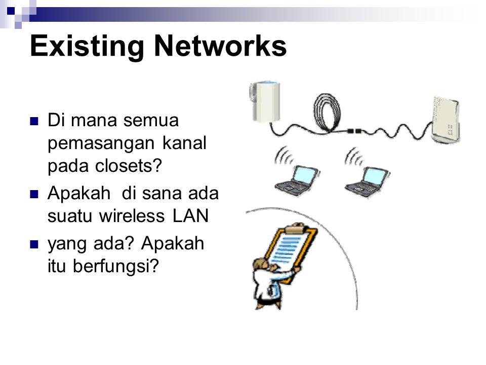 Existing Networks Di mana semua pemasangan kanal pada closets? Apakah di sana ada suatu wireless LAN yang ada? Apakah itu berfungsi?