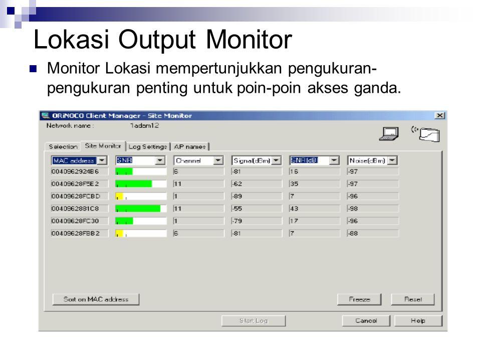 Lokasi Output Monitor Monitor Lokasi mempertunjukkan pengukuran- pengukuran penting untuk poin-poin akses ganda.