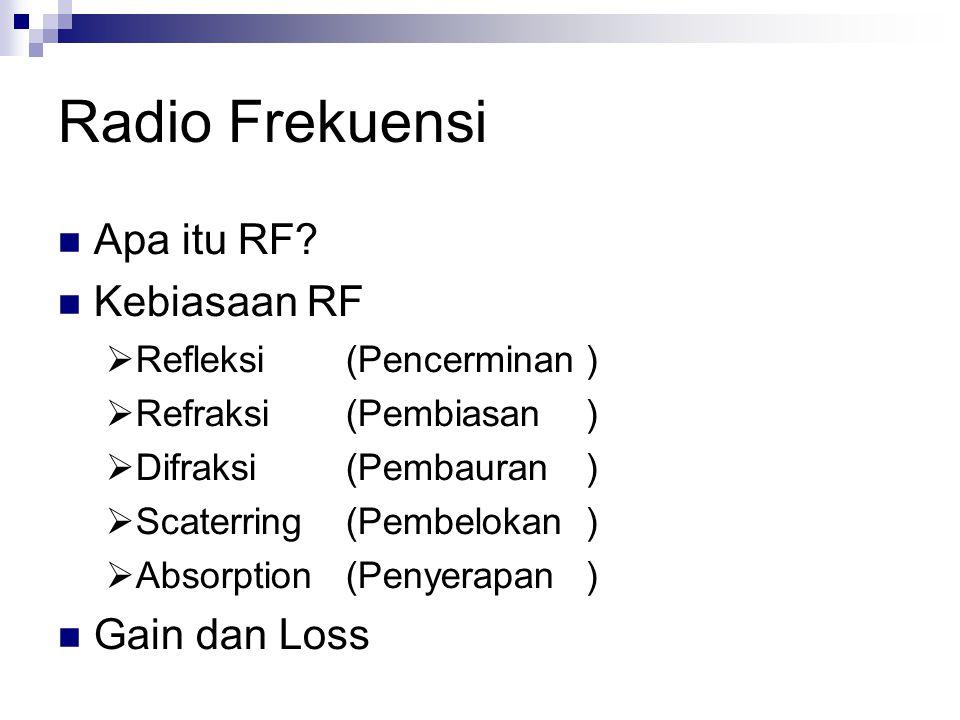Radio Frekuensi Apa itu RF? Kebiasaan RF  Refleksi(Pencerminan)  Refraksi(Pembiasan)  Difraksi(Pembauran)  Scaterring(Pembelokan)  Absorption(Pen