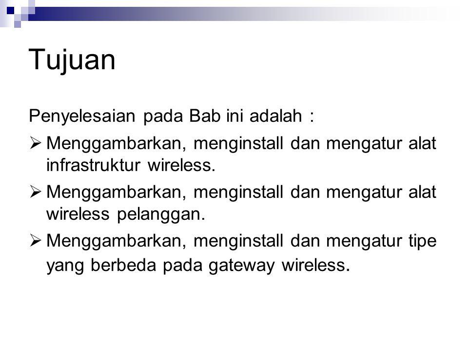 Tujuan Penyelesaian pada Bab ini adalah :  Menggambarkan, menginstall dan mengatur alat infrastruktur wireless.  Menggambarkan, menginstall dan meng