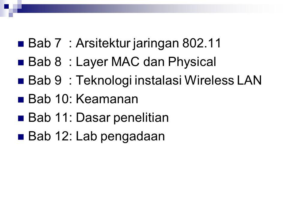Bab 7 : Arsitektur jaringan 802.11 Bab 8 : Layer MAC dan Physical Bab 9 : Teknologi instalasi Wireless LAN Bab 10: Keamanan Bab 11: Dasar penelitian B