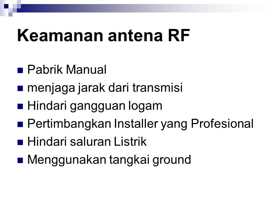 Keamanan antena RF Pabrik Manual menjaga jarak dari transmisi Hindari gangguan logam Pertimbangkan Installer yang Profesional Hindari saluran Listrik