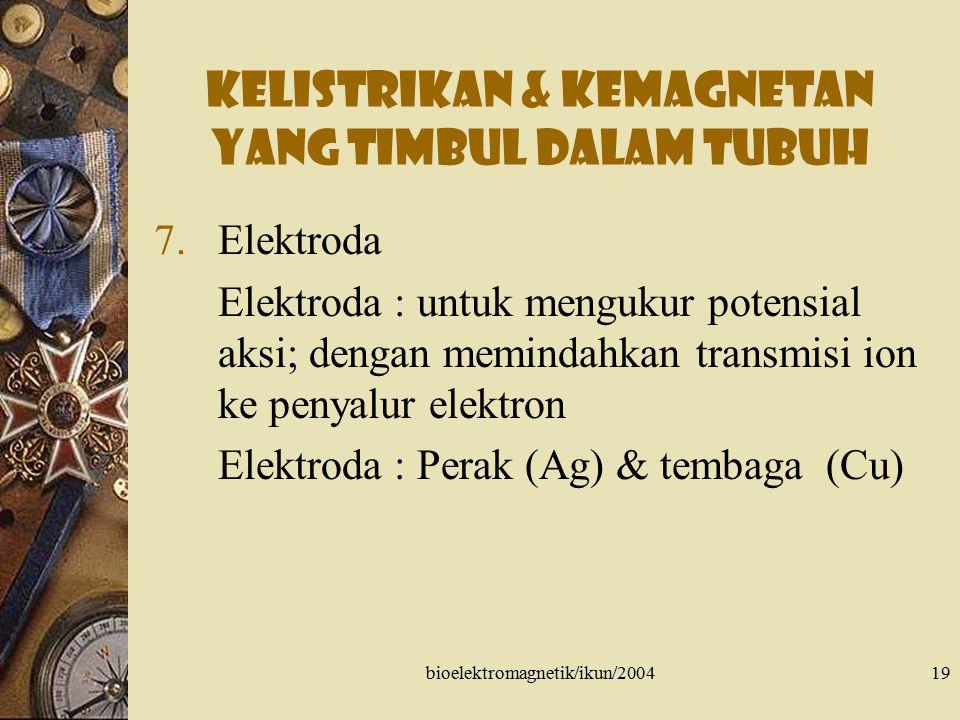 bioelektromagnetik/ikun/200419 Kelistrikan & kemagnetan yang timbul dalam tubuh 7.Elektroda Elektroda : untuk mengukur potensial aksi; dengan memindah