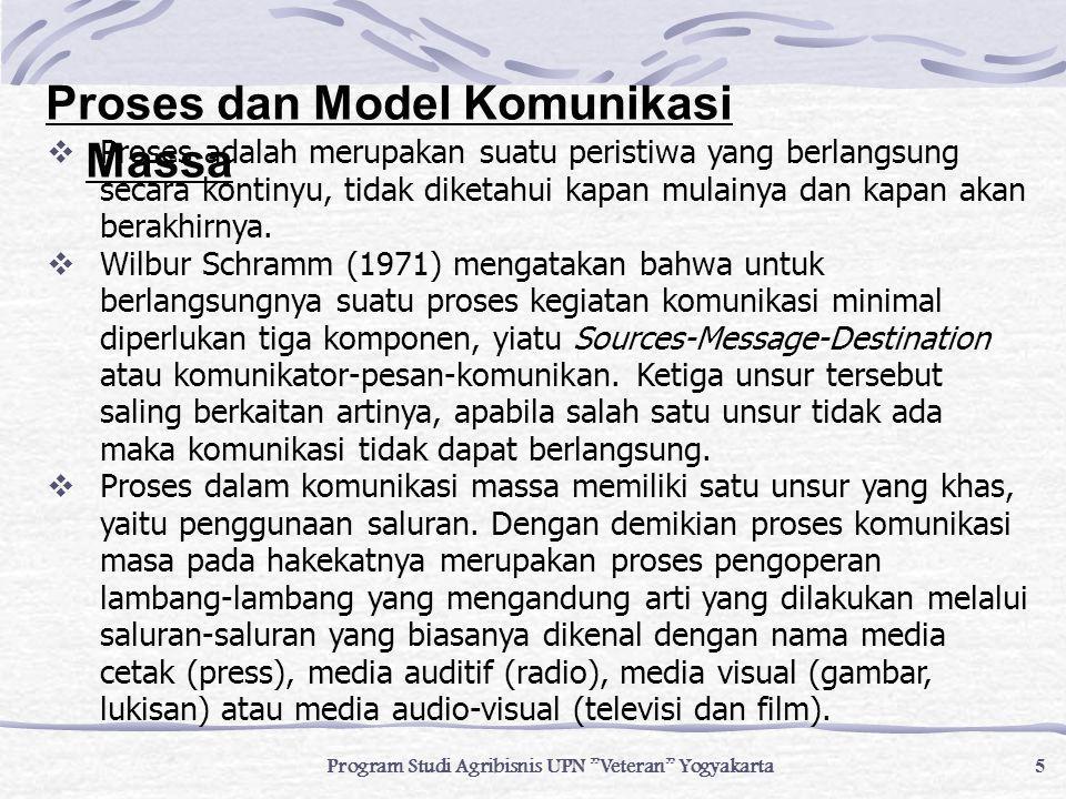 6 Program Studi Agribisnis UPN Veteran Yogyakarta 1.Model S-R (Stimulus-Respon) Model ini merupakan model dasar dan sangat sederhana dari komunikasi yang menunjukkan komunikasi sebagai proses aksi- reaksi.