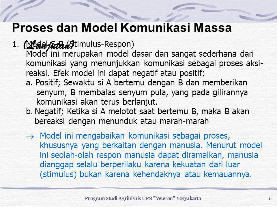 """6 Program Studi Agribisnis UPN """"Veteran"""" Yogyakarta 1.Model S-R (Stimulus-Respon) Model ini merupakan model dasar dan sangat sederhana dari komunikasi"""