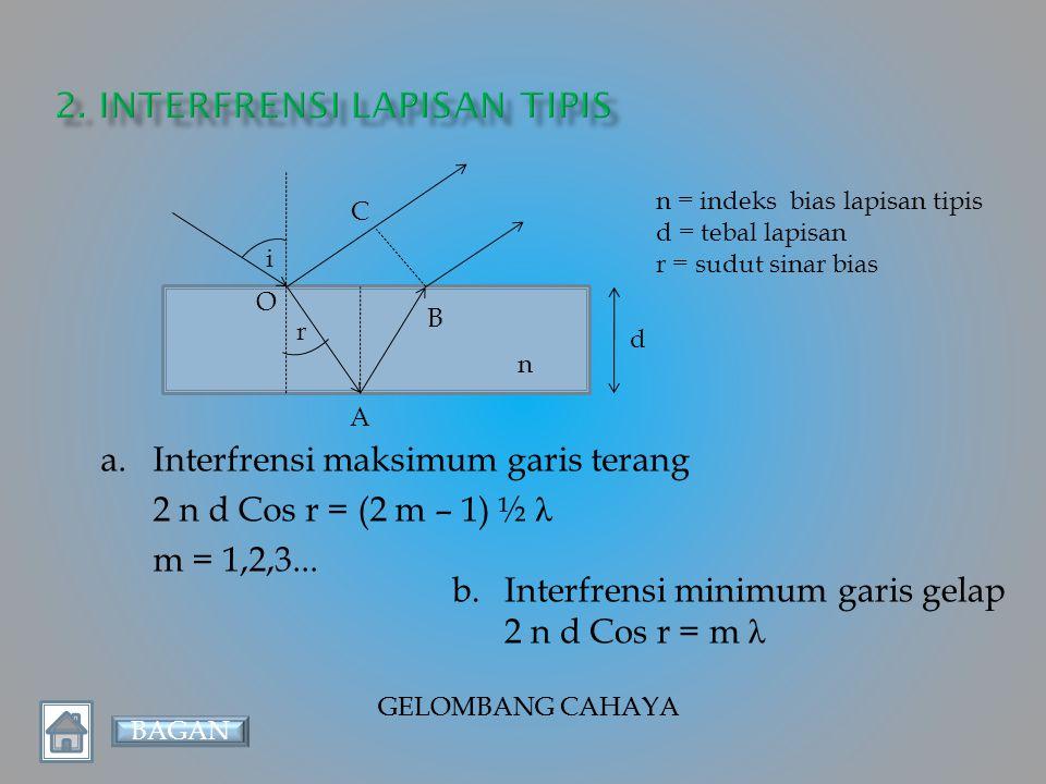 GELOMBANG CAHAYA d sin θ θ d p ℓ d = jarak antar dua celah (meter) ℓ = jarak celah ke layar (meter) p = jarak pola interfrensi ke terang pusat a.Interfrensi maksimum garis terang d sin θ = m λ Atau d p = m λ ℓ b.