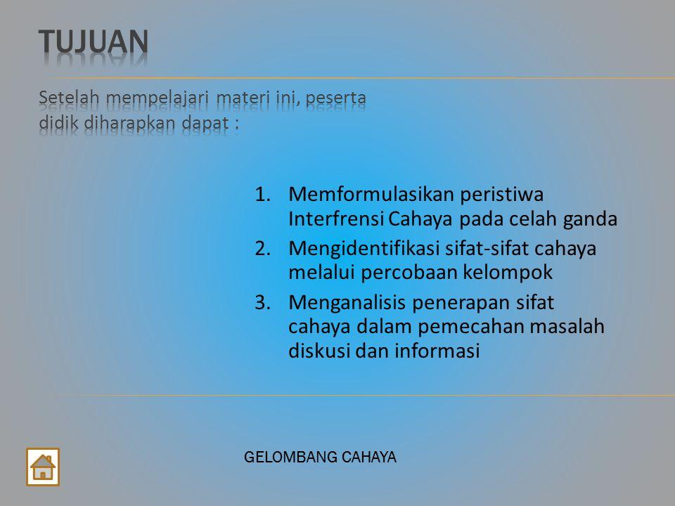 GELOMBANG CAHAYA 4.Prinsip dasar dua sumber cahaya koheren adalah........