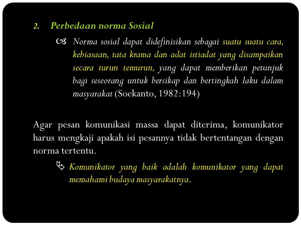 2. Perbedaan norma Sosial  Norma sosial dapat didefinisikan sebagai suatu suatu cara, kebiasaan, tata krama dan adat istiadat yang disampaikan secara