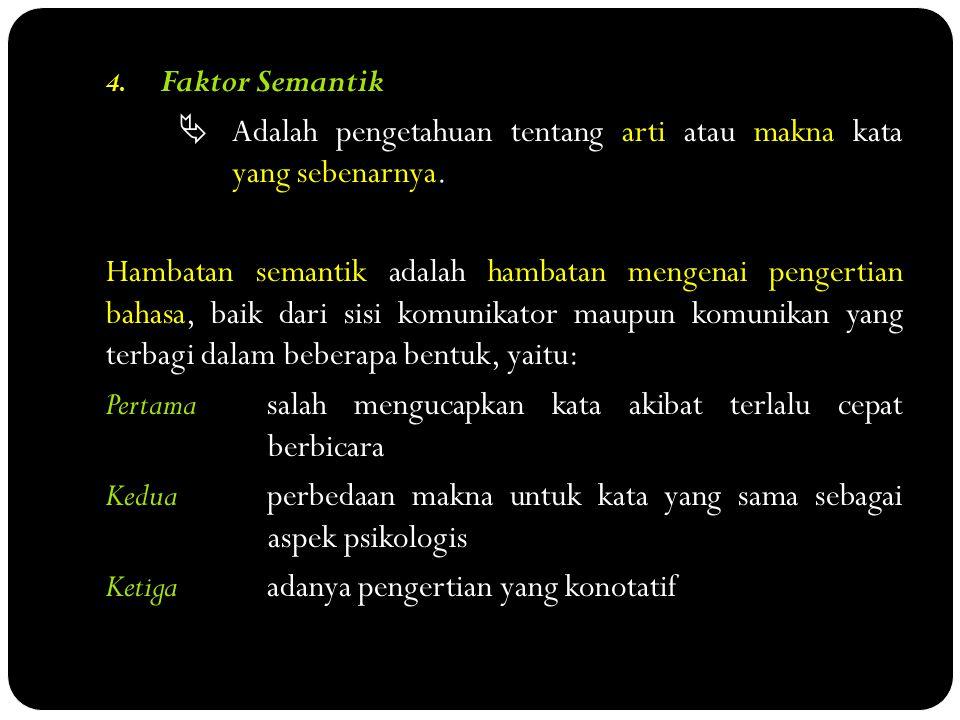 4.Faktor Semantik  Adalah pengetahuan tentang arti atau makna kata yang sebenarnya.