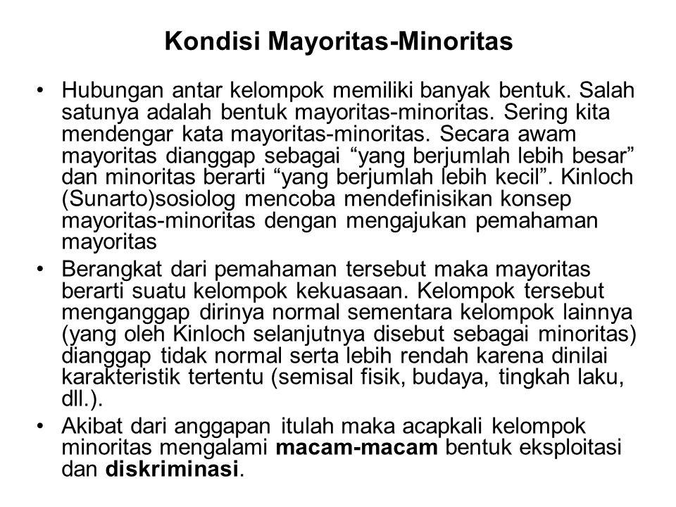 Kondisi Mayoritas-Minoritas Hubungan antar kelompok memiliki banyak bentuk. Salah satunya adalah bentuk mayoritas-minoritas. Sering kita mendengar kat