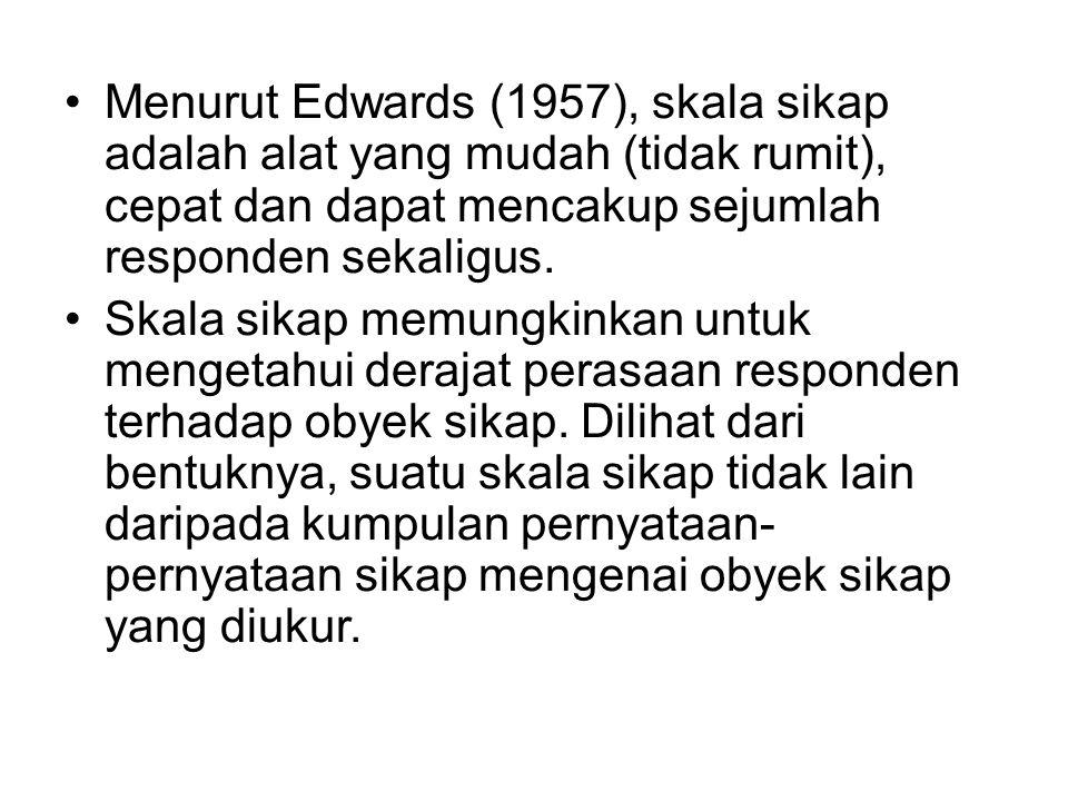 Menurut Edwards (1957), skala sikap adalah alat yang mudah (tidak rumit), cepat dan dapat mencakup sejumlah responden sekaligus. Skala sikap memungkin