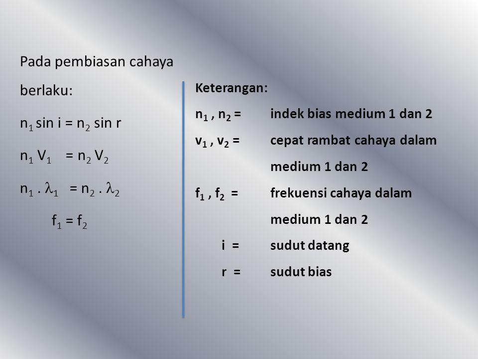 Persamaan umum snellius tentang pembiasan adalah : Dimana : * n 1 dan n 2 menyatakan indeks bias medium 1 dan 2 * v 1 dan v 2 menyatakan kecepatan mer