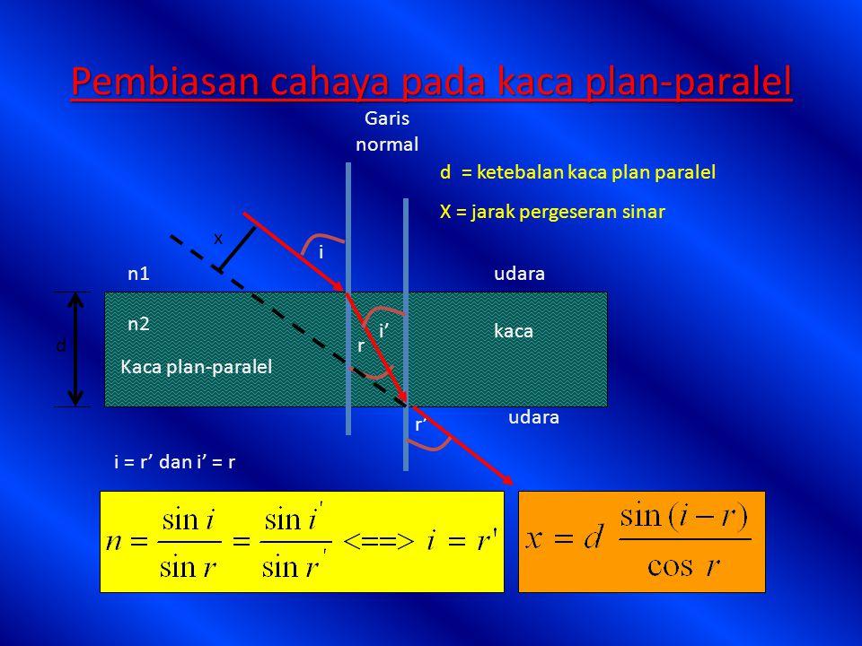 Pada pembiasan cahaya berlaku: n 1 sin i = n 2 sin r n 1 V 1 = n 2 V 2 n 1. 1 = n 2. 2 f 1 = f 2 Keterangan: n 1, n 2 = indek bias medium 1 dan 2 v 1,