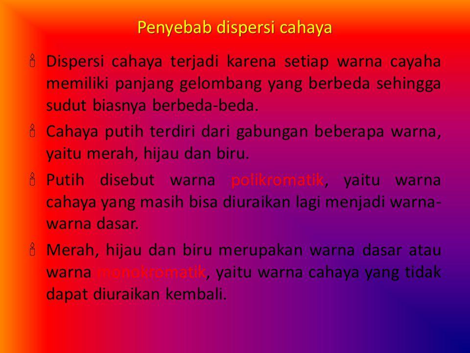 Dispersi Cahaya Dispersi cahaya adalah penguraian warna-warna cahaya. Suatu berkas sinar putih bila melalui prisma akan terurai menjadi warna merah, j