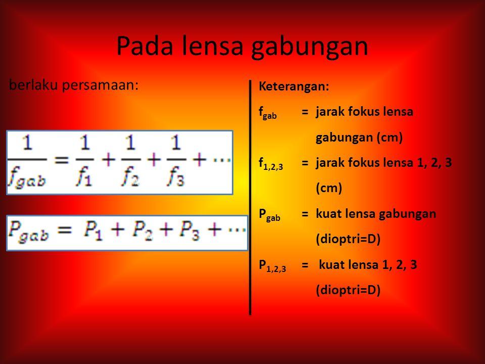 Persamaan pembentuk lensa : Kuat lensa : Keterangan: f =jarak fokus lensa (cm) n 2 =indeks bias lensa n 1 =indeks bias lingkungan R =jari-jari kelengk