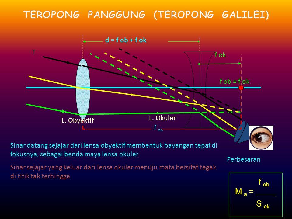 TEROPONG PRISMA DDDDisebut juga teropong binokuler UUUUntuk memperpendek teropong, lensa pembalik diganti dengan dua prisma samakaki yang akan