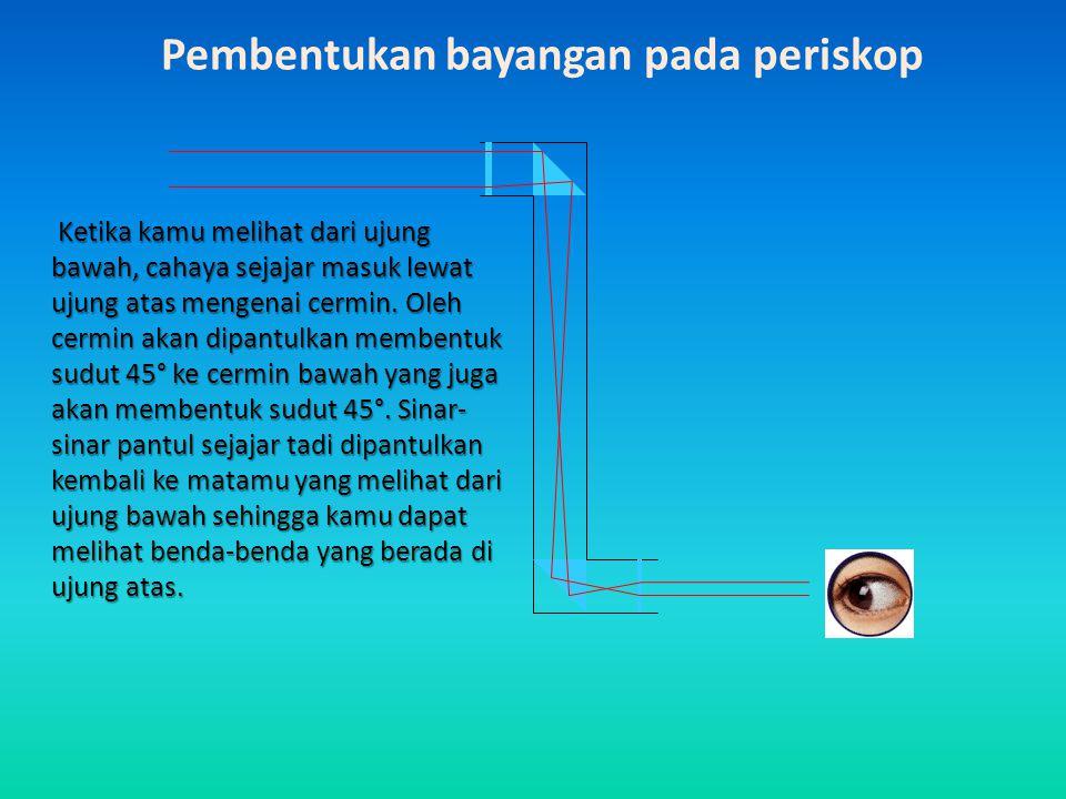 Biasa digunakan di kapal selam, untuk melihat keadaan di permukaan laut. Periskop terdiri dari dua buah lensa dan dua buah cermin.