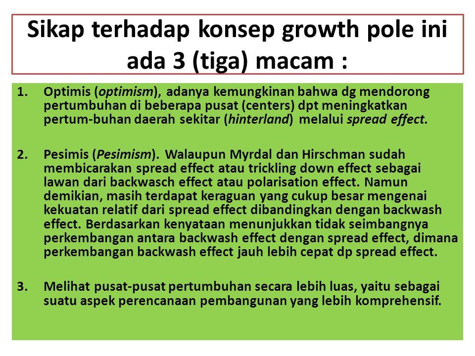 Sikap terhadap konsep growth pole ini ada 3 (tiga) macam : 1.Optimis (optimism), adanya kemungkinan bahwa dg mendorong pertumbuhan di beberapa pusat (centers) dpt meningkatkan pertum-buhan daerah sekitar (hinterland) melalui spread effect.