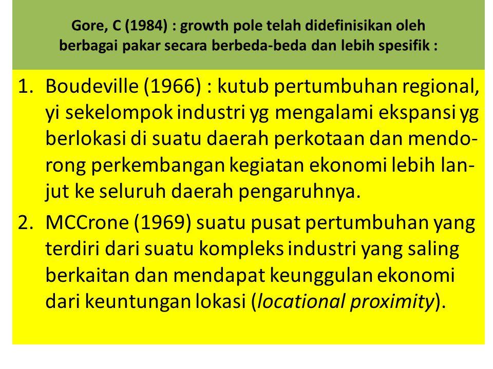 Gore, C (1984) : growth pole telah didefinisikan oleh berbagai pakar secara berbeda-beda dan lebih spesifik : 1.Boudeville (1966) : kutub pertumbuhan