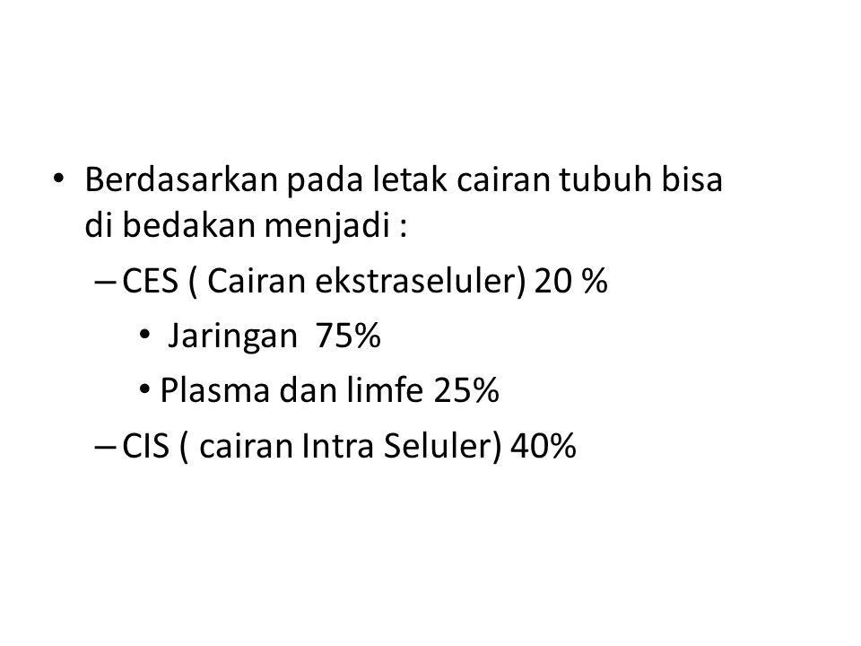 Berdasarkan pada letak cairan tubuh bisa di bedakan menjadi : – CES ( Cairan ekstraseluler) 20 % Jaringan 75% Plasma dan limfe 25% – CIS ( cairan Intra Seluler) 40%