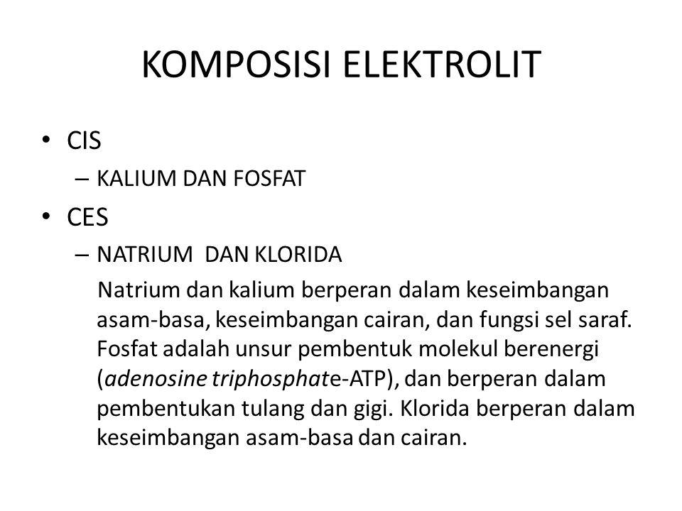 KOMPOSISI ELEKTROLIT CIS – KALIUM DAN FOSFAT CES – NATRIUM DAN KLORIDA Natrium dan kalium berperan dalam keseimbangan asam-basa, keseimbangan cairan,