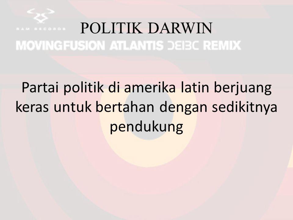 POLITIK DARWIN Partai politik di amerika latin berjuang keras untuk bertahan dengan sedikitnya pendukung