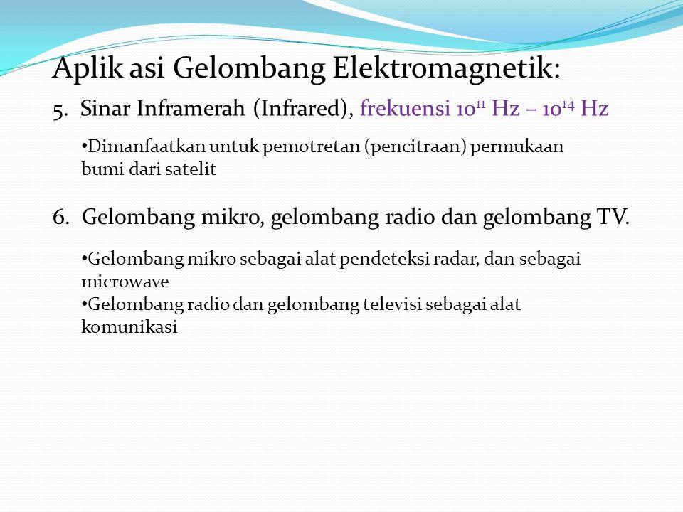 Aplik asi Gelombang Elektromagnetik: 5. Sinar Inframerah (Infrared), frekuensi 10 11 Hz – 10 14 Hz Dimanfaatkan untuk pemotretan (pencitraan) permukaa