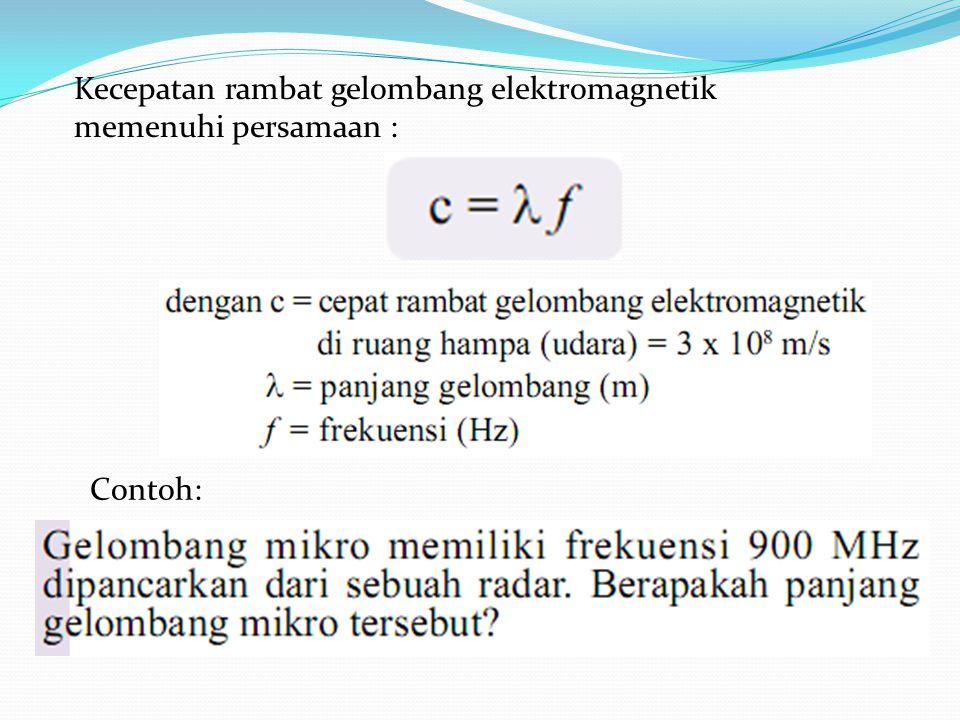 Kecepatan rambat gelombang elektromagnetik memenuhi persamaan : Contoh: