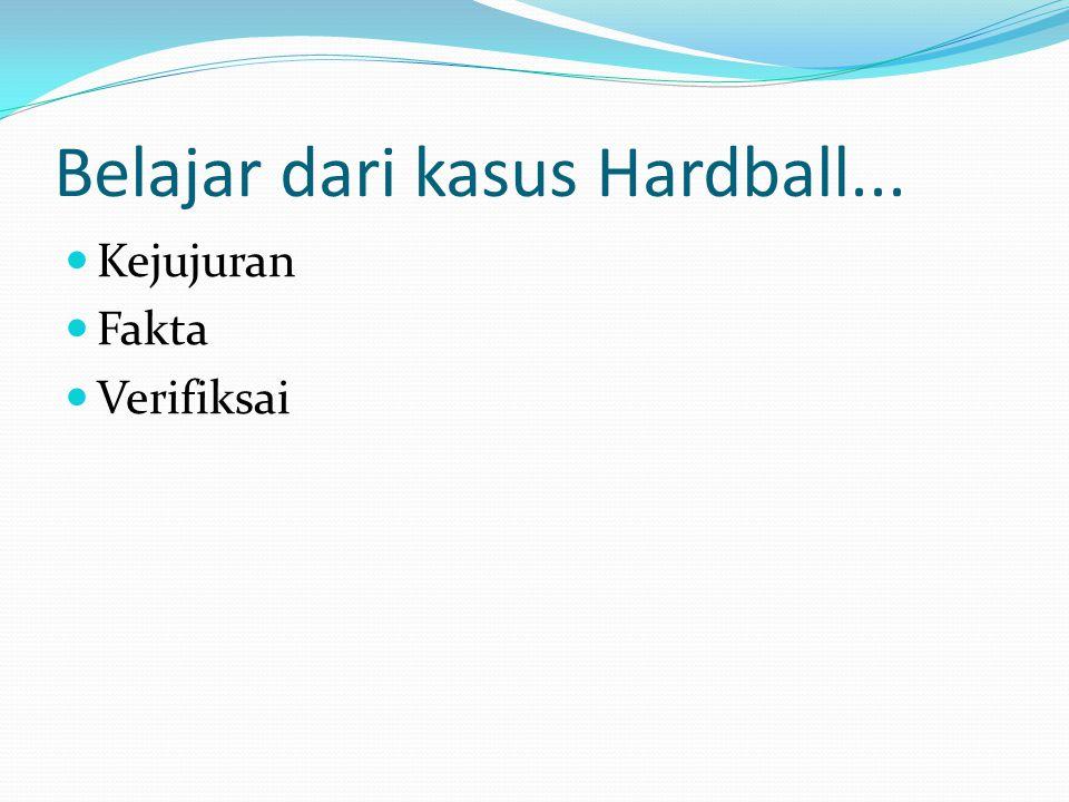 Belajar dari kasus Hardball... Kejujuran Fakta Verifiksai