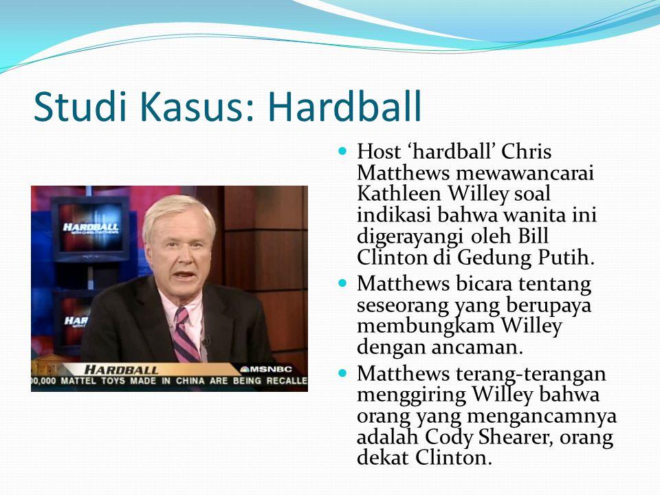 Studi Kasus: Hardball Host 'hardball' Chris Matthews mewawancarai Kathleen Willey soal indikasi bahwa wanita ini digerayangi oleh Bill Clinton di Gedung Putih.