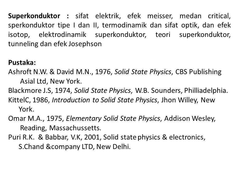Superkonduktor : sifat elektrik, efek meisser, medan critical, sperkonduktor tipe I dan II, termodinamik dan sifat optik, dan efek isotop, elektrodinamik superkonduktor, teori superkonduktor, tunneling dan efek Josephson Pustaka: Ashroft N.W.