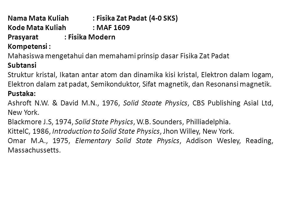 Nama Mata Kuliah: Fisika Zat Padat (4-0 SKS) Kode Mata Kuliah: MAF 1609 Prasyarat: Fisika Modern Kompetensi : Mahasiswa mengetahui dan memahami prinsi