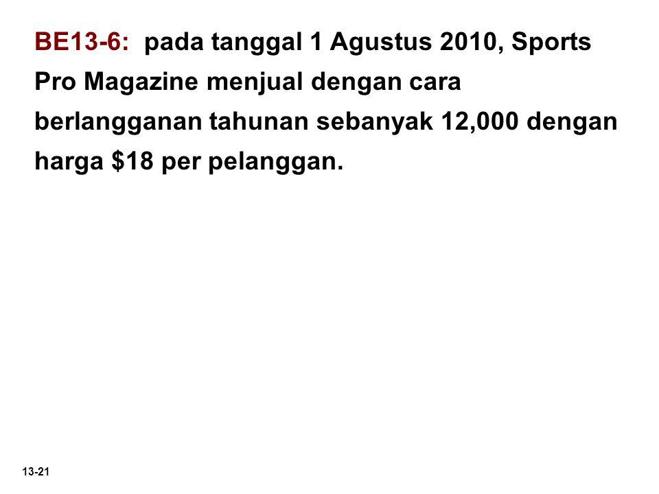 13-21 BE13-6: pada tanggal 1 Agustus 2010, Sports Pro Magazine menjual dengan cara berlangganan tahunan sebanyak 12,000 dengan harga $18 per pelanggan