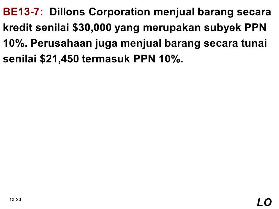 13-23 BE13-7: Dillons Corporation menjual barang secara kredit senilai $30,000 yang merupakan subyek PPN 10%. Perusahaan juga menjual barang secara tu