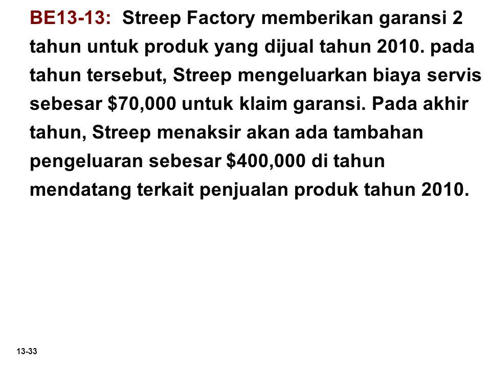 13-33 BE13-13: Streep Factory memberikan garansi 2 tahun untuk produk yang dijual tahun 2010. pada tahun tersebut, Streep mengeluarkan biaya servis se