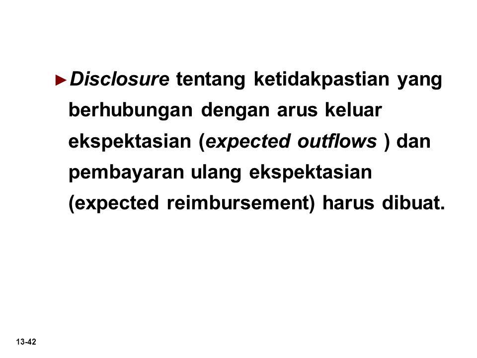 13-42 ► ► Disclosure tentang ketidakpastian yang berhubungan dengan arus keluar ekspektasian (expected outflows ) dan pembayaran ulang ekspektasian (e