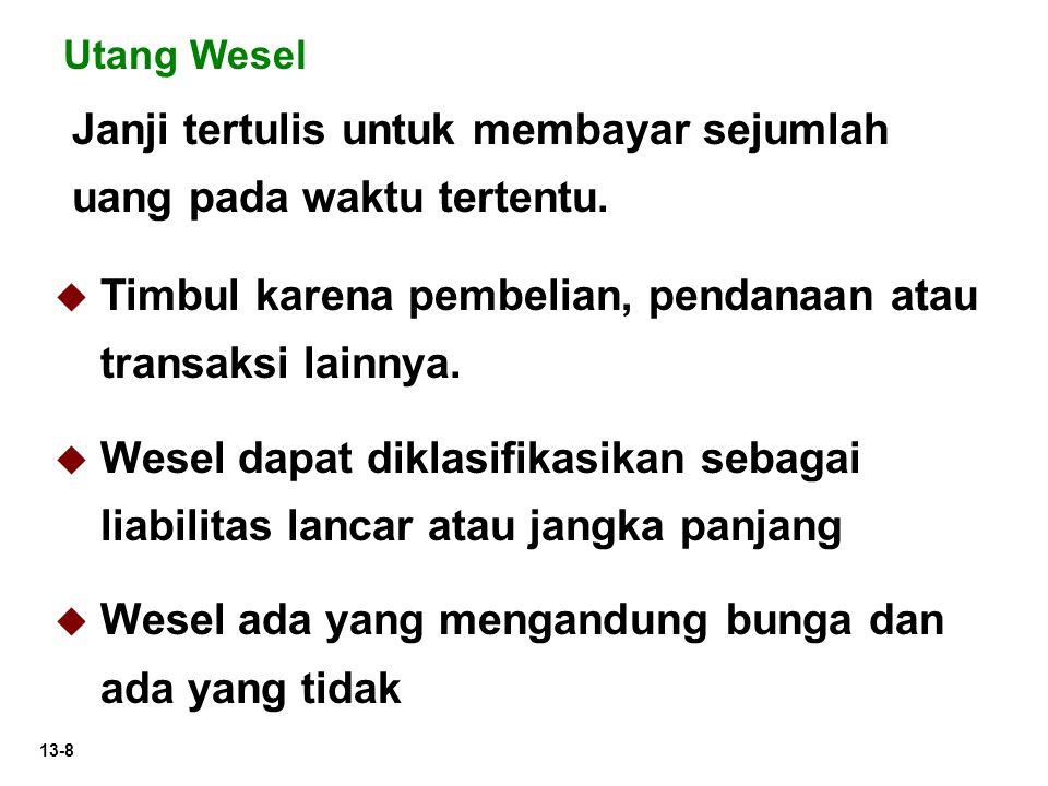 13-8 Janji tertulis untuk membayar sejumlah uang pada waktu tertentu. Utang Wesel  Timbul karena pembelian, pendanaan atau transaksi lainnya.  Wesel