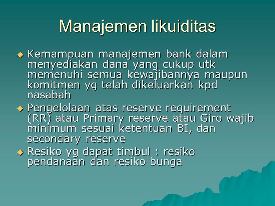 Manajemen likuiditas  Kemampuan manajemen bank dalam menyediakan dana yang cukup utk memenuhi semua kewajibannya maupun komitmen yg telah dikeluarkan