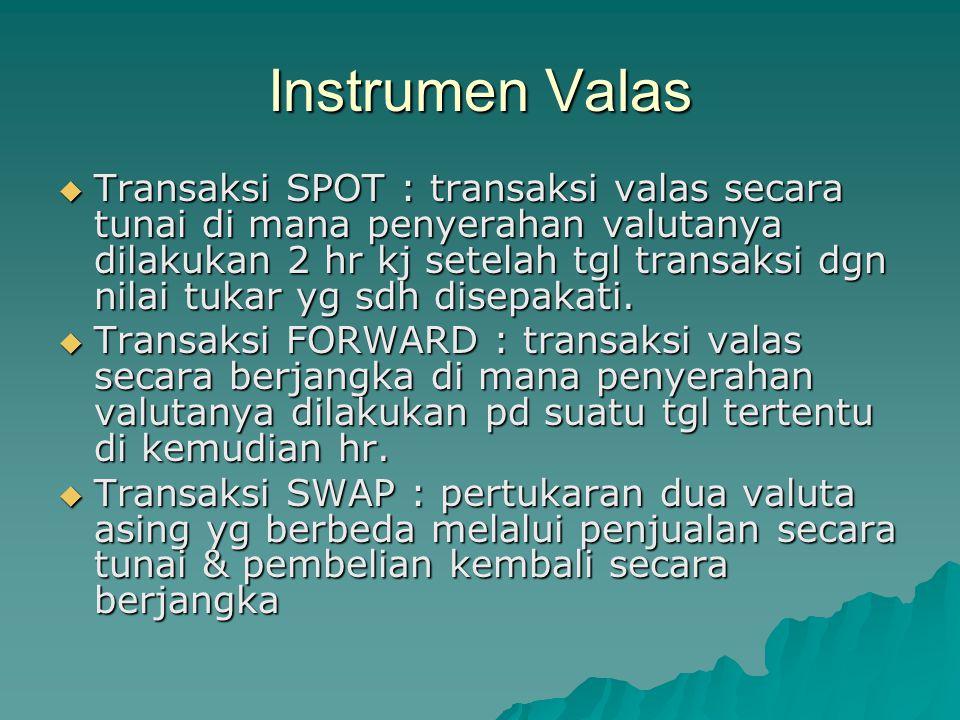 Instrumen Valas  Transaksi SPOT : transaksi valas secara tunai di mana penyerahan valutanya dilakukan 2 hr kj setelah tgl transaksi dgn nilai tukar y