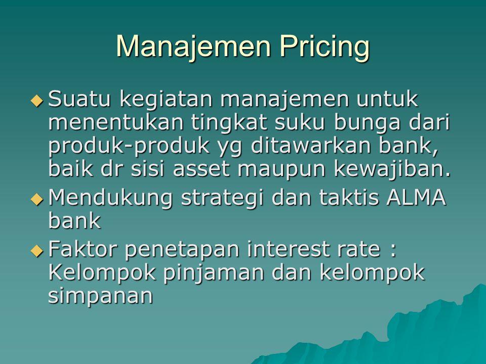 Manajemen Pricing  Suatu kegiatan manajemen untuk menentukan tingkat suku bunga dari produk-produk yg ditawarkan bank, baik dr sisi asset maupun kewa