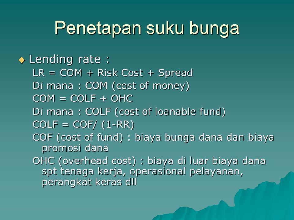 Penetapan suku bunga  Lending rate : LR = COM + Risk Cost + Spread Di mana : COM (cost of money) COM = COLF + OHC Di mana : COLF (cost of loanable fu
