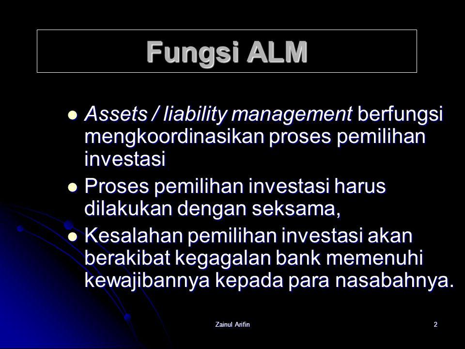 Zainul Arifin2 Fungsi ALM Assets / liability management berfungsi mengkoordinasikan proses pemilihan investasi Assets / liability management berfungsi
