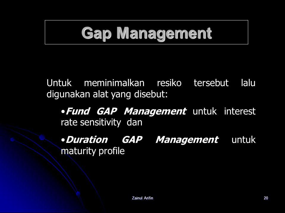 Zainul Arifin20 Gap Management Untuk meminimalkan resiko tersebut lalu digunakan alat yang disebut: Fund GAP Management untuk interest rate sensitivit