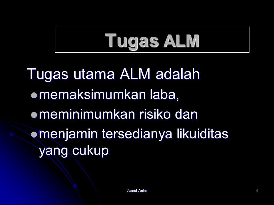 Zainul Arifin4 Tanggung Jawab ALM Tanggung jawab ALM meliputi: akuisisi dana-dana dan akuisisi dana-dana dan alokasi dana-dana bank alokasi dana-dana bank agar tersedia likuiditas cukup, profitabilitas maksimum dan resiko minimum.